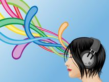 Headphone Girl Royalty Free Stock Photos