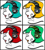 Headphone Girls. Line drawing in several colors, young,  simple, creative, for the music lovers and more Royalty Free Stock Images