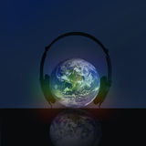 HEADPHONE WITH  GLOBE Stock Photography
