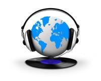 Headphone and globe with vinyl record Stock Photos