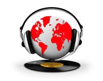 Headphone and globe with vinyl record. Over white Royalty Free Stock Photography