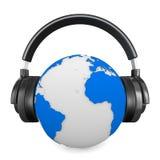 Headphone and globe on white background Stock Photography