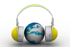 Headphone and globe Royalty Free Stock Images