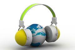 Headphone and globe Stock Image