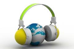 Headphone and globe Stock Image