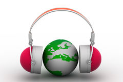 Headphone and globe Stock Photo
