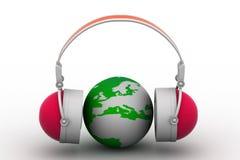 Headphone and globe Stock Photo