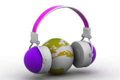 Headphone and globe Royalty Free Stock Photography