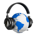 Headphone and globe on white background Stock Photography