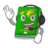 With headphone green passport on the mascot table. Vector illustration stock illustration
