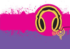 Headphone on grunge background for text. Royalty Free Stock Photos