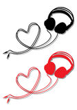 Headphone with heart, vector Royalty Free Stock Image