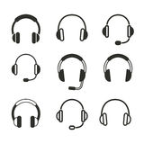 Headphone icon set. Headphone vector icons set. Black illustration isolated on white background for graphic and web design Royalty Free Illustration