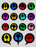 Headphone Icons and Dialog Bubbles Stock Images