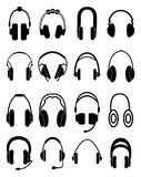 Headphone icons set Stock Photos