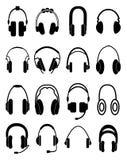 Headphone icons set Stock Photos