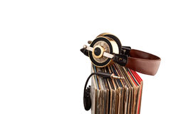 Headphone jack and vinyl records. Stock Photography