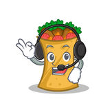 With headphone kebab wrap character cartoon. Vector illustration stock illustration