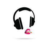 Headphone and lips color vector Stock Photos