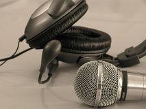 Headphone and microphone Royalty Free Stock Photos