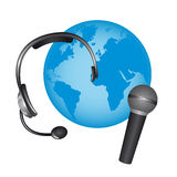 Headphone and microphone Stock Photography