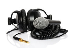 Headphone and microphone Royalty Free Stock Photo