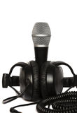 Headphone and microphone isolated on white Stock Photography