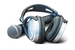Headphone and microphone Stock Images