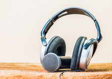 Headphone and microphone Stock Image