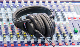 Headphone on mixer Royalty Free Stock Photography