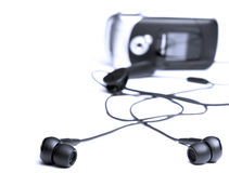 Headphone from mobile phone Royalty Free Stock Photo