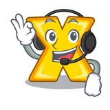 With headphone multiply sign icon isolated on mascot. Vector illustration stock illustration