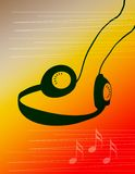 Headphone Music. Computer generated design. Music headphones against a colorful background with music notes Stock Photo