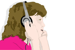 Headphone music (illustration) Royalty Free Stock Image