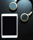 Headphone and Music Tablet Stock Photography