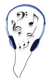 Headphone and Musical Notes Stock Images