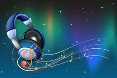 A headphone with musical notes Royalty Free Stock Photography