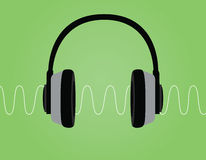 Headphone noise signal sound wave vector illustration with green background Stock Photos