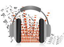 Headphone with notes Stock Image