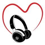 Headphone och hjärta Arkivfoto