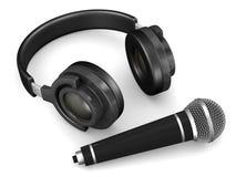 Headphone och mikrofon på vit bakgrund Isolerad illust 3d Royaltyfri Bild
