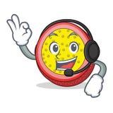 With headphone passion fruit mascot cartoon. Vector illustration Stock Photos
