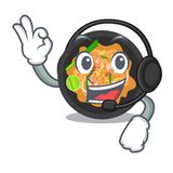 With headphone pat thai on the mascot plate. Vector illustration vector illustration