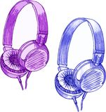 Headphone. Pencil drawing of headphones on a white background Stock Images