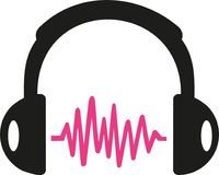 Headphone with pink sound wave. Vector Royalty Free Stock Photo