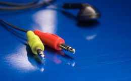Headphone Plugs Royalty Free Stock Photography