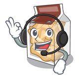 With headphone pork rinds in the character plastic vector illustration