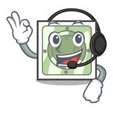 With headphone power socket isolated with in mascot vector illustration