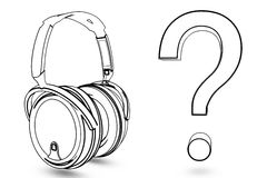 Headphone with question Royalty Free Stock Image