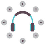Headphone With Radio Buttons Royalty Free Stock Photography